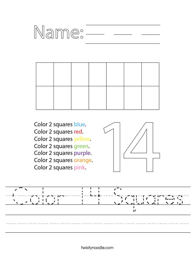 Color 14 Squares Worksheet
