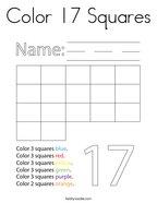 Color 17 Squares Coloring Page