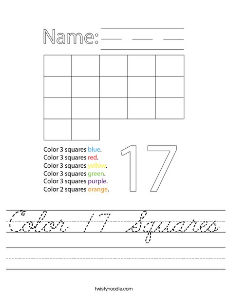 Color 17 Squares Worksheet
