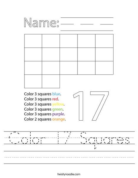 Color 17 Squares Worksheet