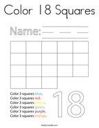 Color 18 Squares Coloring Page