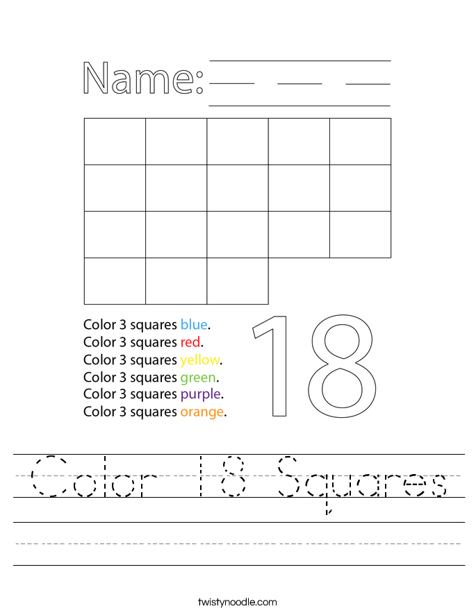 Color 18 Squares Worksheet