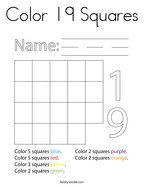 Color 19 Squares Coloring Page