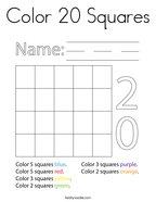 Color 20 Squares Coloring Page