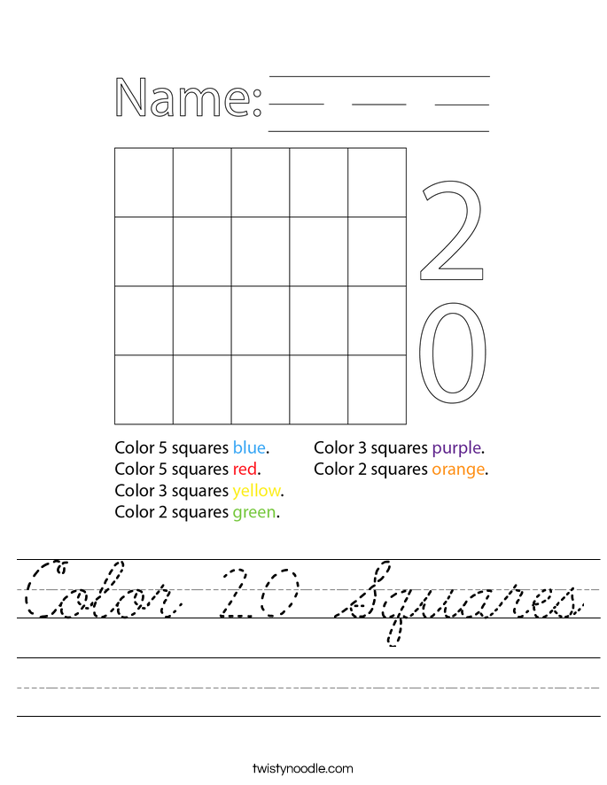 Color 20 Squares Worksheet