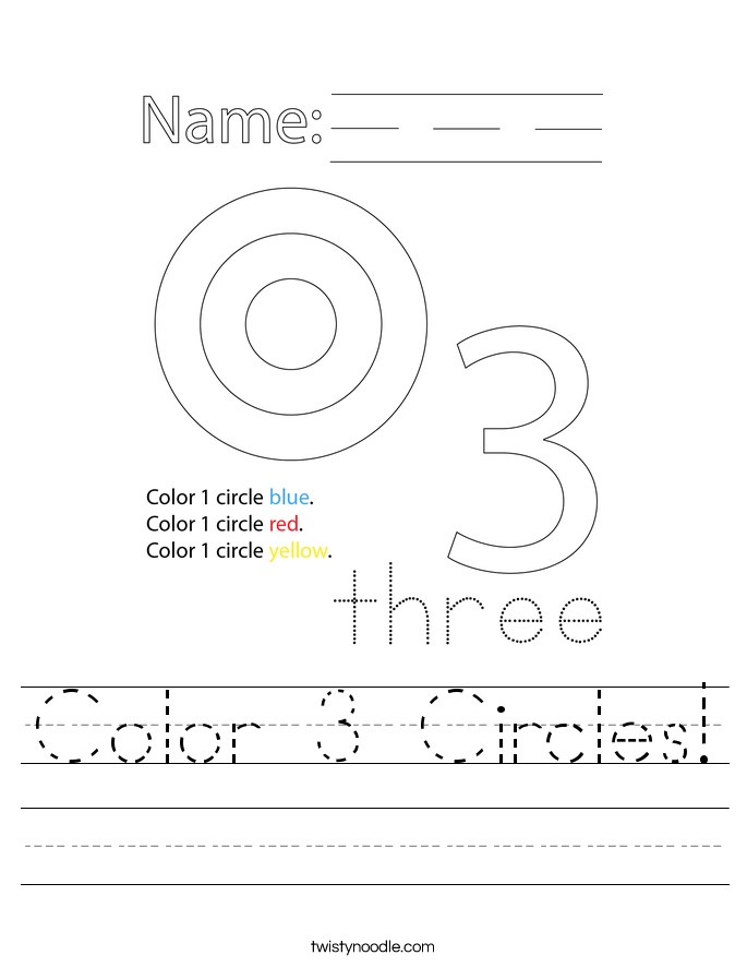 Color 3 Circles! Worksheet