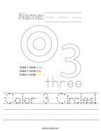 Color 3 Circles Handwriting Sheet