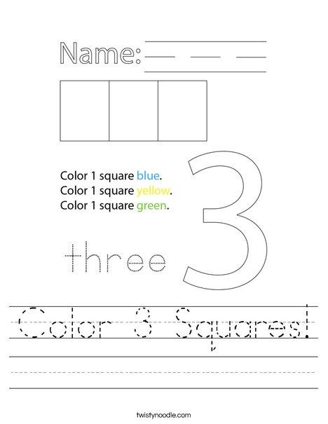Color 3 Squares! Worksheet