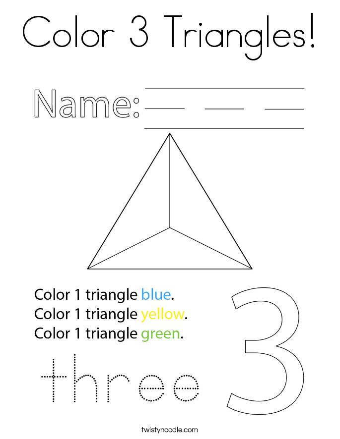 Color 3 Triangles! Coloring Page