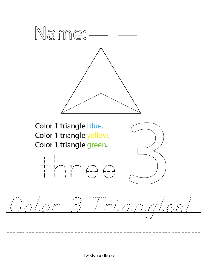 Color 3 Triangles! Worksheet