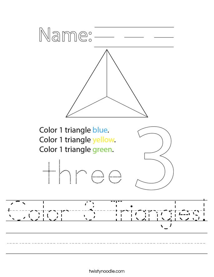 Color 3 Triangles! Worksheet