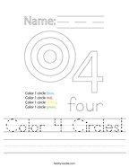 Color 4 Circles Handwriting Sheet