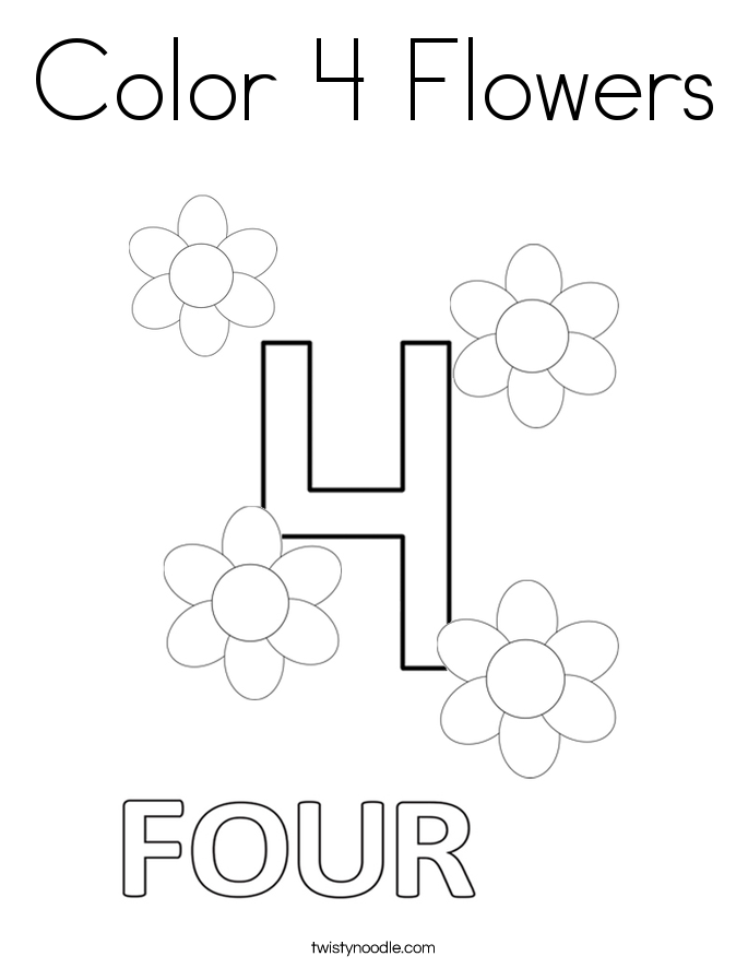 Color 4 Flowers Coloring Page