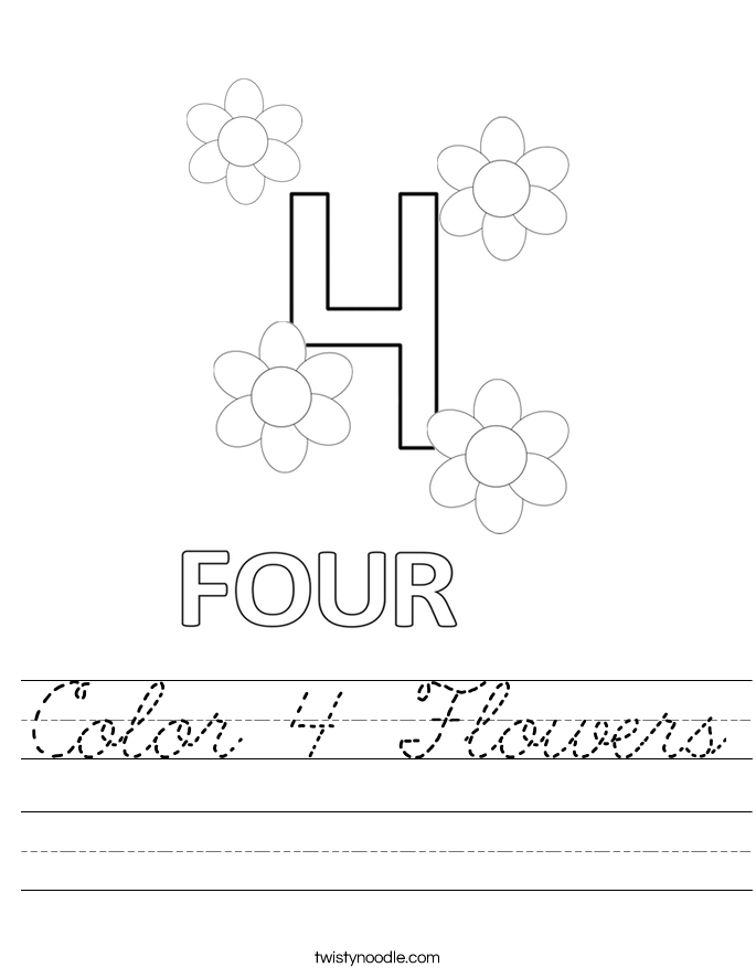 Color 4 Flowers Worksheet
