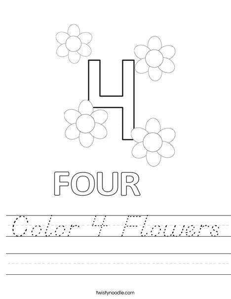 Color 4 Flowers Worksheet