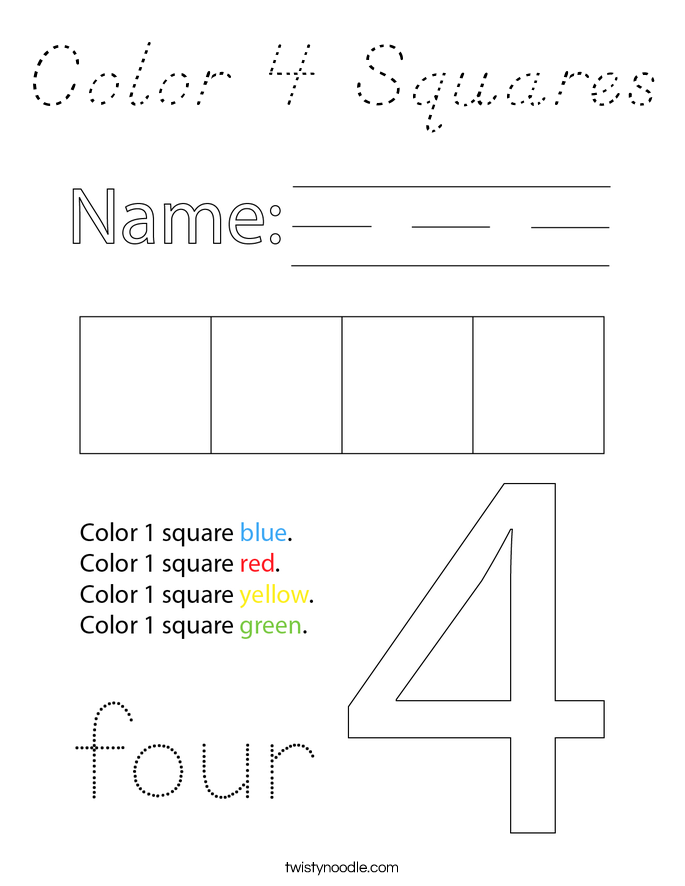 Color 4 Squares Coloring Page