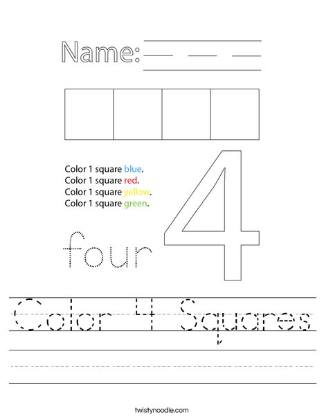 Color 4 Squares Worksheet