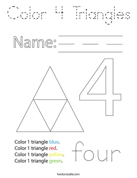 Color 4 Triangles! Coloring Page