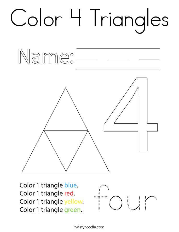 Color 4 Triangles Coloring Page