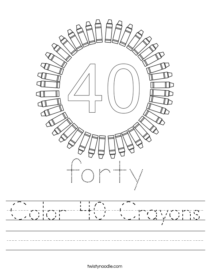 Color 40 Crayons Worksheet