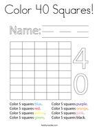 Color 40 Squares Coloring Page
