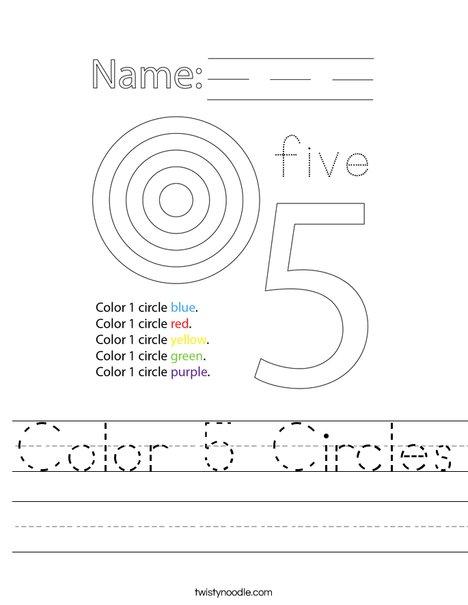 Color 5 Circles Worksheet
