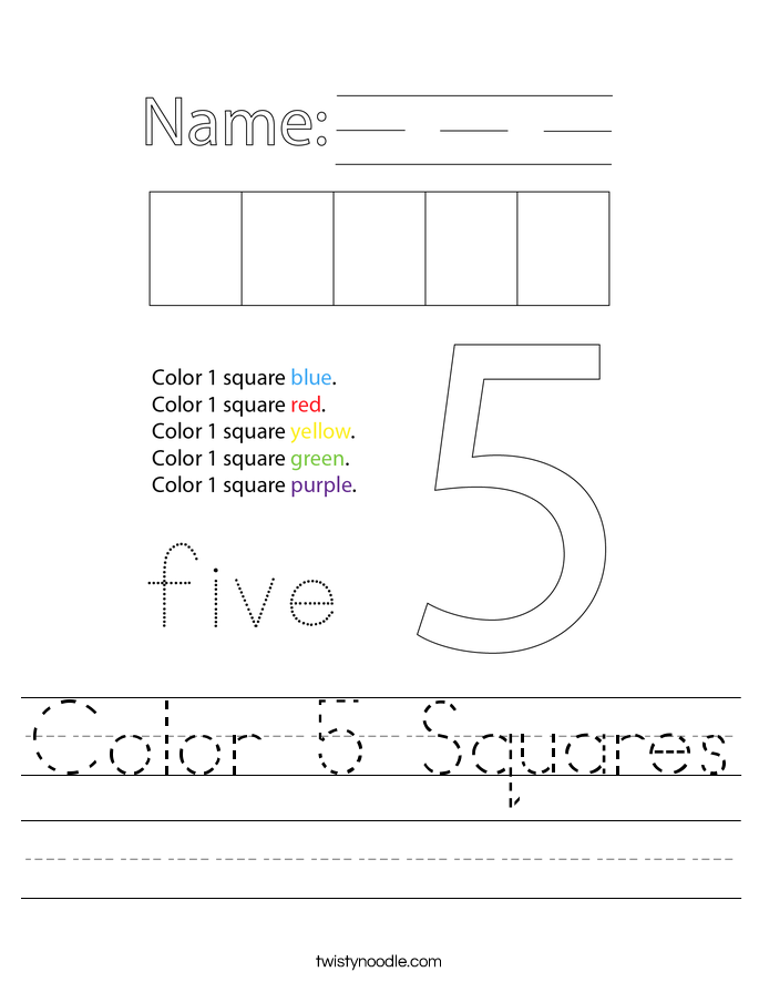 Color 5 Squares Worksheet
