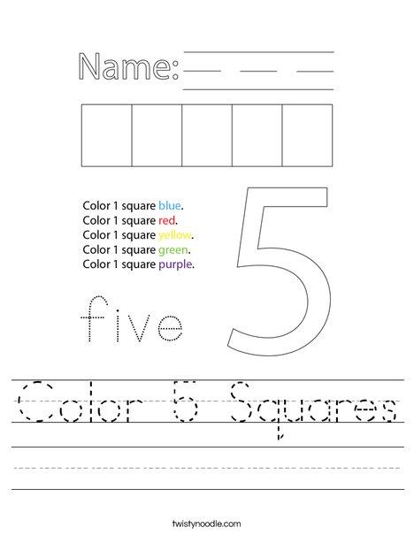 Color 5 Squares Worksheet