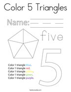 Color 5 Triangles Coloring Page