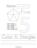 Color 5 Triangles Handwriting Sheet