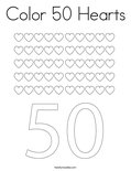 Color 50 Hearts Coloring Page