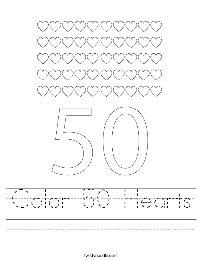 Color 50 Hearts Worksheet