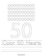 Color 50 Hearts Handwriting Sheet