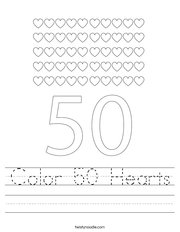 Color 50 Hearts Handwriting Sheet