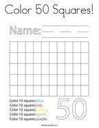 Color 50 Squares Coloring Page