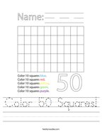 Color 50 Squares Handwriting Sheet