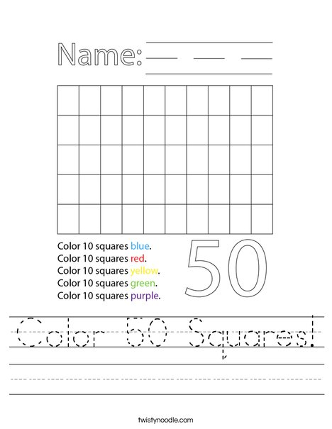 Color 50 Squares Worksheet
