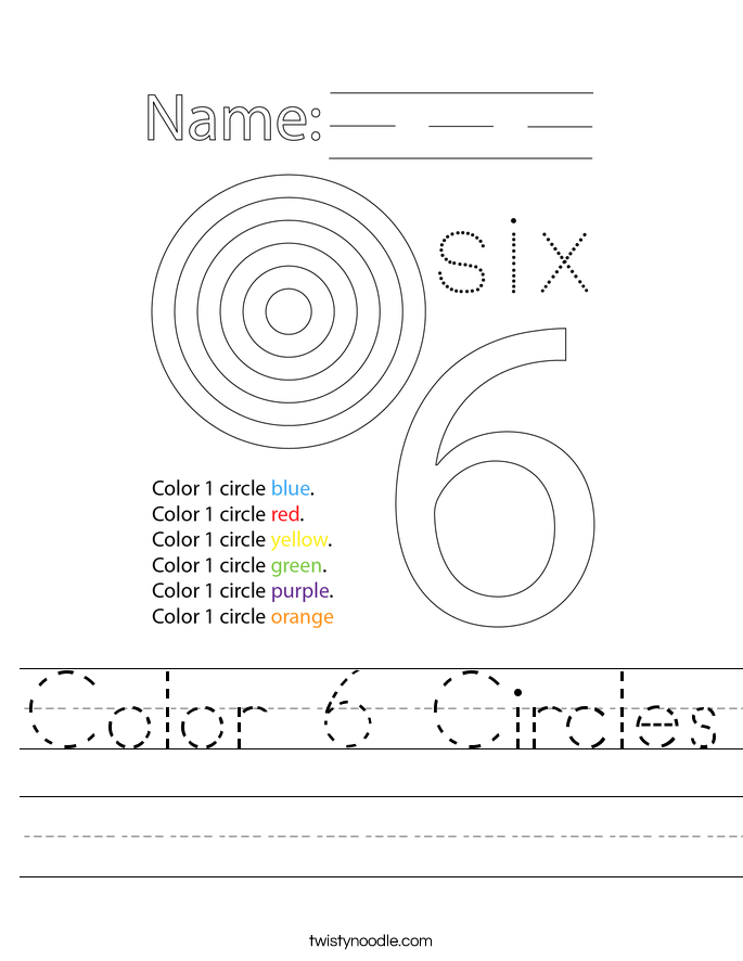 Color 6 Circles Worksheet