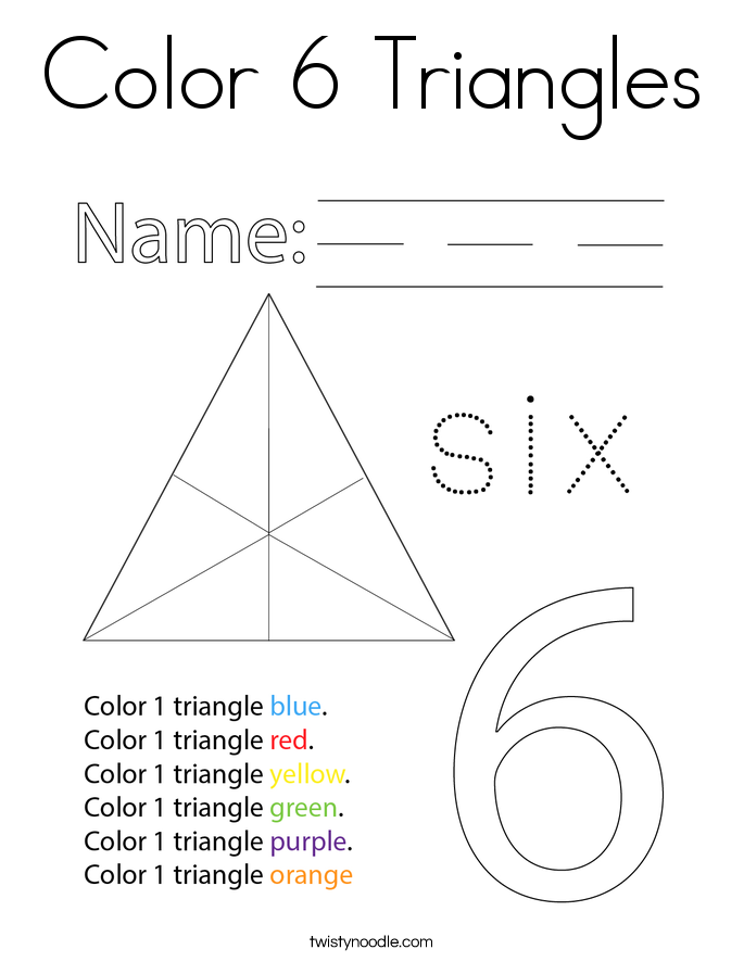 Color 6 Triangles Coloring Page