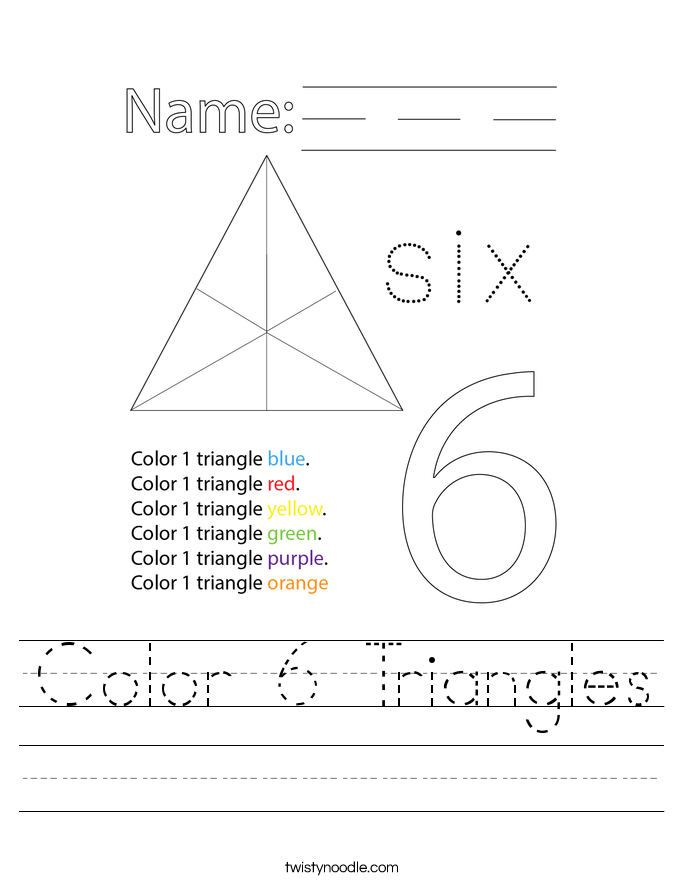 Color 6 Triangles Worksheet