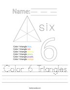 Color 6 Triangles Handwriting Sheet