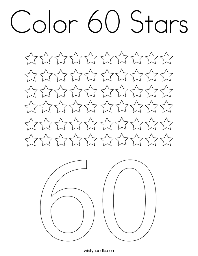 Color 60 Stars Coloring Page