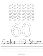 Color 60 Stars Handwriting Sheet