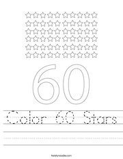 Color 60 Stars Handwriting Sheet