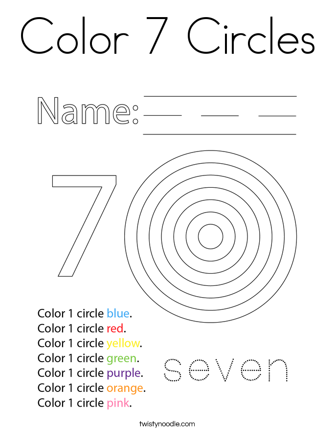 Color 7 Circles Coloring Page