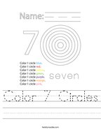 Color 7 Circles Handwriting Sheet