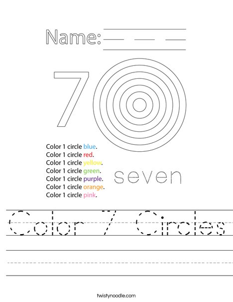 Color 7 Circles Worksheet