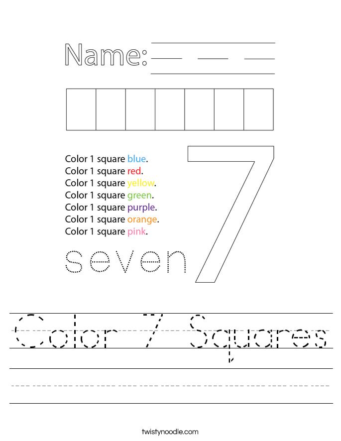 Color 7 Squares Worksheet