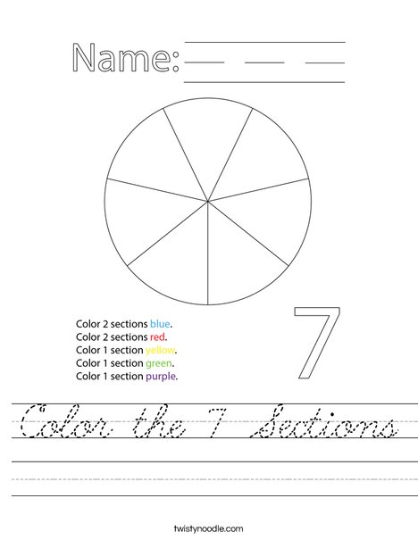 Color 7 Sections of the Circle Worksheet