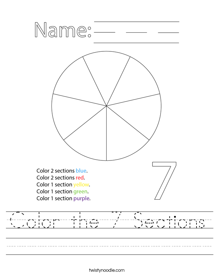 Color the 7 Sections Worksheet